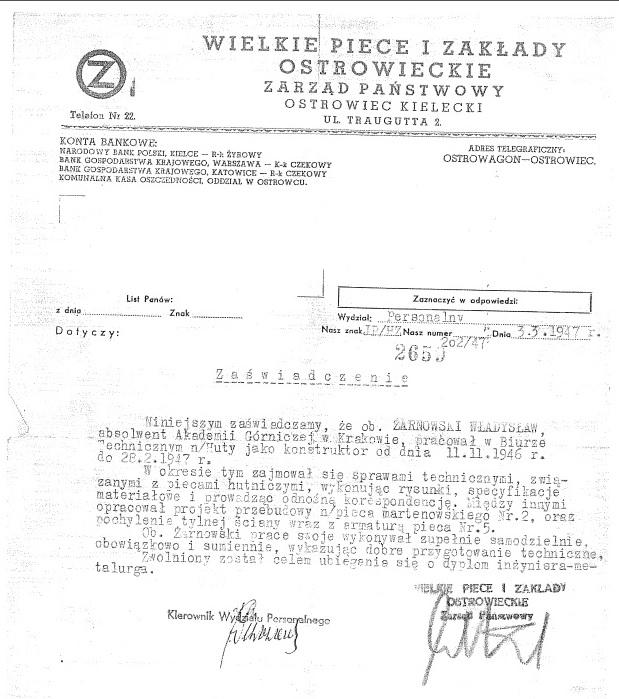 Żarnowski Wł_Z-dy Ostrowieckie 1946-1947